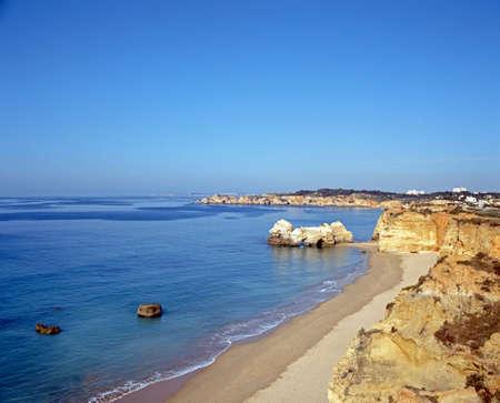 elevated view: Elevated view of the beach and coastline, Praia da Rocha, Algarve, Portugal, Western Europe.