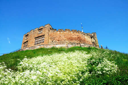 norman castle: View of the Norman castle, Tamworth, Staffordshire, England, UK, Western Europe. Editorial