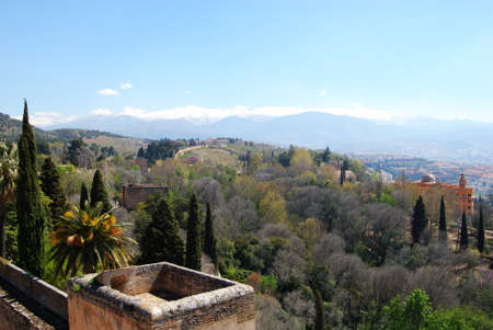 sierra nevada mountain range: Castle walls Alcazaba with views towards the snowy Sierra Nevada Mountains, Palace of Alhambra, Granada, Granada Province, Andalusia, Spain, Western Europe.