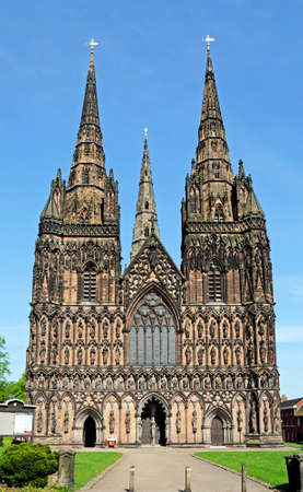 western europe: Cathedral West front, Lichfield, Staffordshire, England, United Kingdom, Western Europe. Stock Photo