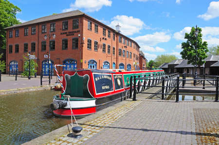 midlands: Narrowboat moored in the canal basin, Coventry, West Midlands, England, UK, Western Europe. Editorial