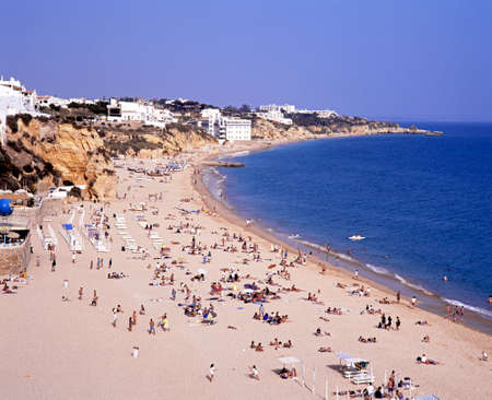 elevated view: Elevated view of the beach and coastline, Albufeira, Algarve, Portugal, Western Europe.