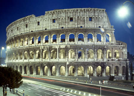 floodlit: View of the Colosseum at night, Rome, Italy, Europe.