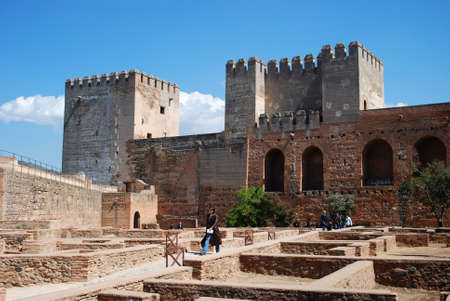 castle district: Dungeons and Castrense district Mazmorras y Barrio Castrense within Castle, Palace of Alhambra, Granada, Granada Province, Andalucia, Spain, Western Europe.