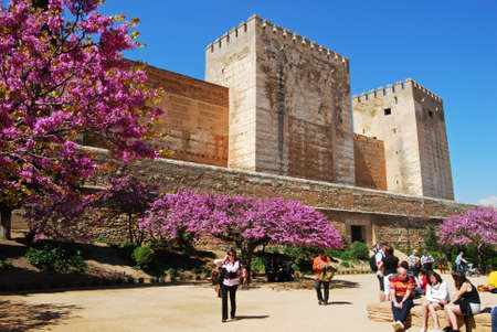 Cistern Court Plaza de los Aljibes, East side of the castle with pink tree blossom in foreground and tourists enjoying the sights, Palace of Alhambra, Granada, Granada Province, Andalusia, Spain, Western Europe. Editorial