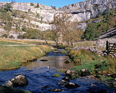 yorkshire dales: View of Malham Cove and beck in the Yorkshire Dales, Malham, Yorkshire Dales, North Yorkshire, England, UK, Great Britain, Western Europe.