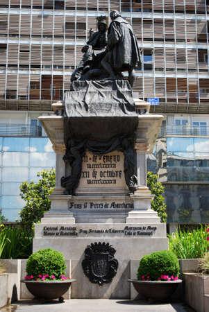 granada: Monument to Ferdinand and Isabella in the Plaza Isabel la Catolica, Granada, Granada Province, Andalusia, Spain, Western Europe.