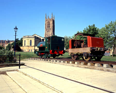 all weather: All Saints Cathedral with locomotive in the foreground, Derby, Derbyshire, England, UK, Western Europe. Editorial