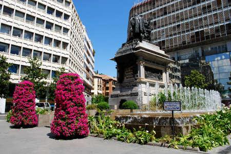 ferdinand: Monument to Ferdinand and Isabella in the Plaza Isabel la Catolica, Granada, Granada Province, Andalusia, Spain, Western Europe.