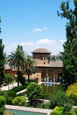 elevated view: Elevated view of the Palacio del Partal  Gardens of the partal, Palace of Alhambra, Granada, Granada Province, Andalusia, Spain, Western Europe. Editorial