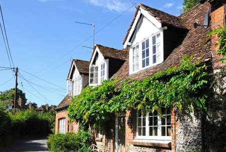 flint: Stone and flint cottage in the village, Turville, Buckinghamshire, England, UK, Western Europe. Editorial