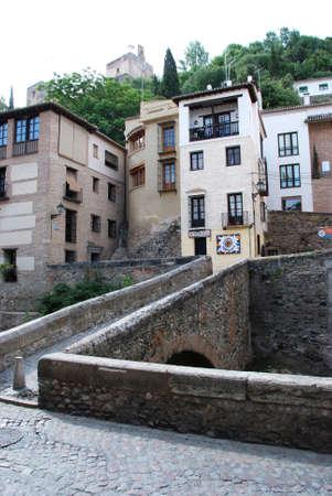carrera: View across a footbridge along the Carrera del Darro in the Albaicin, Granada, Granada Province, Andalusia, Spain, Western Europe. Editorial