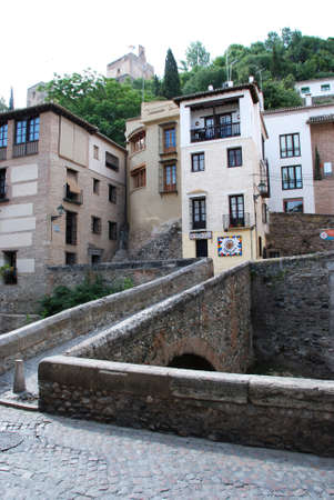 footbridges: View across a footbridge along the Carrera del Darro in the Albaicin, Granada, Granada Province, Andalusia, Spain, Western Europe. Editorial