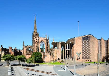 midlands: View of the old and new Cathedrals, Coventry, West Midlands, England, UK, Western Europe.