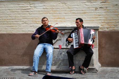 entertainers: Street musicians on the Carrera del Darro in the Albaicin, Granada, Granada Province, Andalusia, Spain, Western Europe.