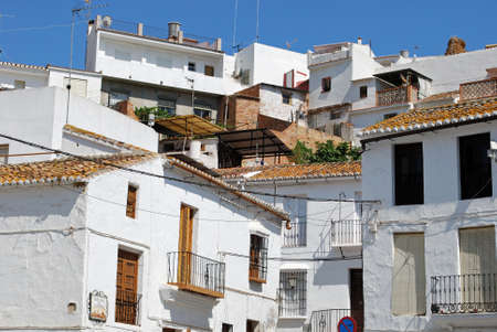 town centre: View of townhouses in the town centre, Alora, Malaga Province, Andalusia, Spain, Western Europe. Stock Photo