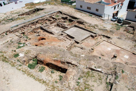an excavation: View of the Roman excavation site ruins uncovered next to Santa Maria Plaza, Antequera, Malaga Province, Andalucia, Spain, Western Europe.