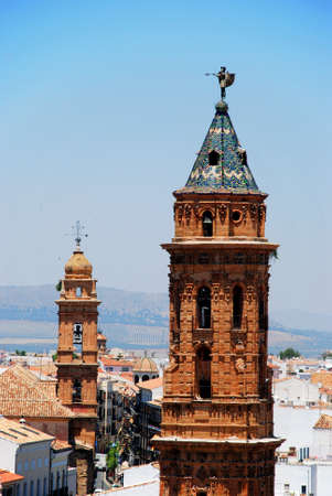 san agustin: San Sebastian church tower with San Agustin church tower to the rear, Antequera, Malaga Province, Andalucia, Spain, Western Europe. Editorial