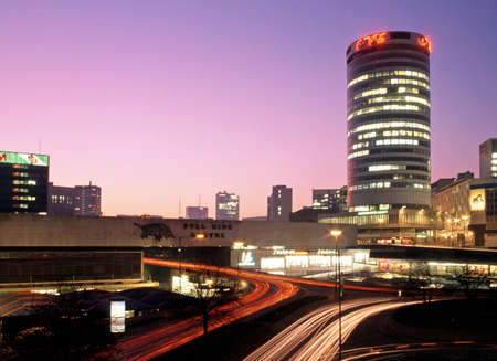 rotunda: View of the Rotunda and Bull Ring at sunset, Birmingham, West Midlands, England, UK, Western Europe. Editorial