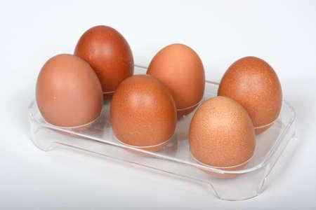 free range: Six free range eggs in a plastic fridge holder against a white background.