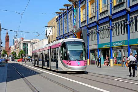 tramline: Midland Metro city centre extension Tram along Corporation Street, Birmingham, England, UK, Western Europe. Editorial