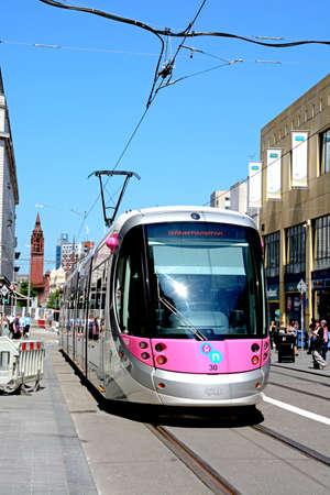 city centre: Midland Metro city centre extension Tram along Corporation Street, Birmingham, England, UK, Western Europe. Editorial