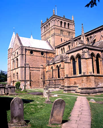 gravestones: View of Southwell Minster with gravestones in the foreground, Southwell, Nottinghamshire, England, UK, Western Europe.