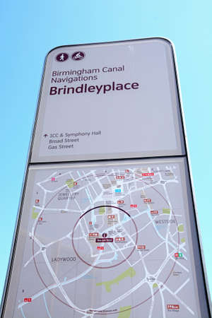 birmingham: Brindleyplace canal sign and map, Birmingham, England, UK, Western Europe.