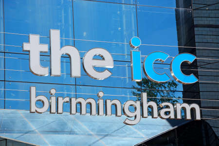 birmingham: Name above the rear entrance to the ICC at Brindleyplace, Birmingham, England, UK, Western Europe.