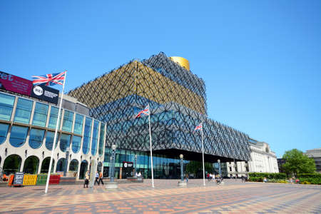 Front view of the Library of Birmingham with the Rep to the left hand side in Centenary Square, Birmingham, England, UK, Western Europe. Editorial