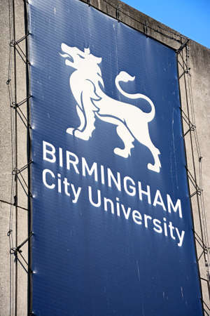 university sign: Birmingham University sign with a lion image, Birmingham, England, UK, Western Europe.