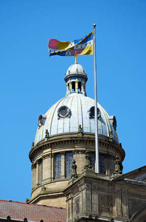 View of the Council House in Victoria Square with a flag on the top, Birmingham, England, UK, Western Europe.