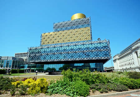 Front view of the Library of Birmingham in Centenary Square, Birmingham, England, UK, Western Europe. Editorial