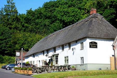 View of the Hambro Arms along the main village street, Milton Abbas, Dorset, England, UK, Western Europe.