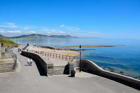 lyme: View along Gun Cliff Walk with the sea and coastline to the rear, Lyme Regis, Dorset, England, UK, Western Europe.
