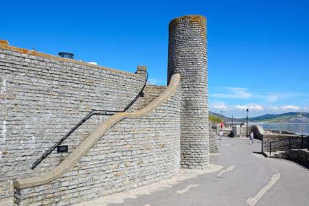 Round tower at Gun Cliff Walk along the promenade, Lyme Regis, Dorset, England, UK, Western Europe.