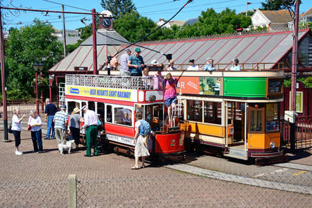 holidaymaker: View of Seaton Electric Tramway Trams outside the tram station, Seaton, Devon, England, UK, Western Europe.