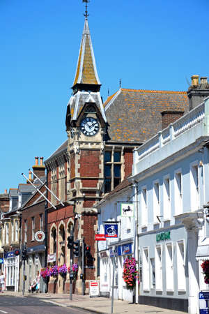 town centre: View of the Victorian Town Hall along North Street in the town centre, Wareham, Dorset, England, UK, Western Europe.