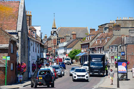 town centre: View along North Street towards the Victorian Town Hall in the town centre, Wareham, Dorset, England, UK, Western Europe.