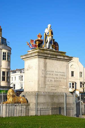 iii: The Kings statue along the Esplanade, monument to King George III, Weymouth, Dorset, England, UK, Western Europe.