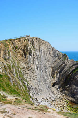 Rock formations along the coastline, Lulworth Cove, Dorset, England, UK, Western Europe.