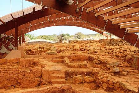 Ancient buildings within the Minoan Malia ruins archaeological site, Malia, Crete, Greece, Europe.