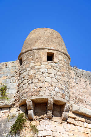 View of  a corner turret on the Venetian castle, Rethymno, Crete, Greece, Europe.