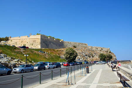 fortezza: View of the Venetian castle on top of the hill, Rethymno, Crete, Greece, Europe. Editorial