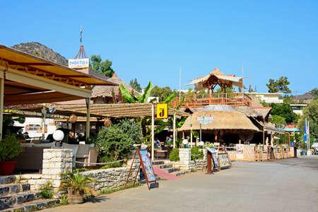 Restaurants along the promenade at Livadi Beach, Bali, Crete, Greece, Europe.