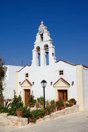 View of the village church, Margarites, Crete, Greece, Europe.