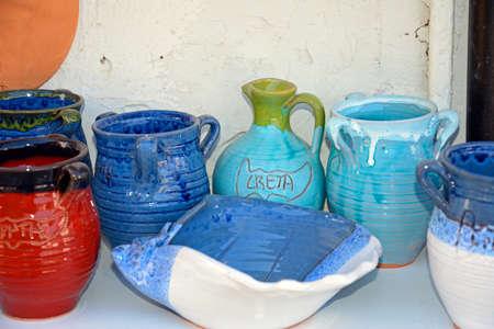 greek pot: Cretan pottery displayed outside a shop in the village centre, Margarites, Crete, Greece, Europe.