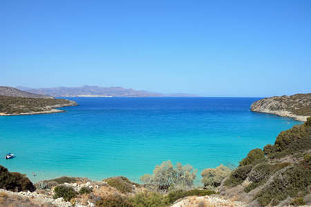 Elevated view of the sea and coastline with mountains to the rear, Istro, Crete, Greece, Europe.