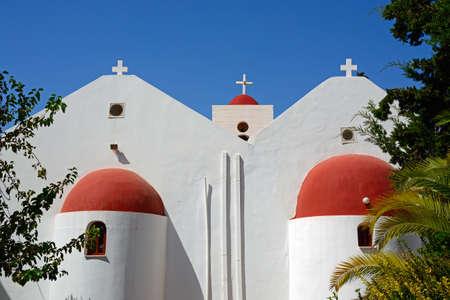 Traditional whitewashed Greek church, Makrigialos, Crete, Greece, Europe.