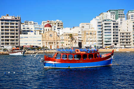 parish: View along with waterfront with the Parish church of Jesus of Nazareth in the centre, Sliema, Malta, Europe.